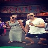 Laura Dundovic and her boyfriend James Kerley got a bit silly in the crazy mirrors at Luna Park. Source: Instagram user lauradundovic