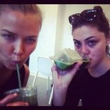 Lara Bingle and Phoebe Tonkin had a green juice each after they did a tough midday workout together. Source: Instagram user phoebejtonkin