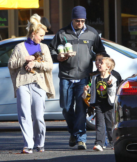 Britney Spears had the company of her boys for a stop at Starbucks.