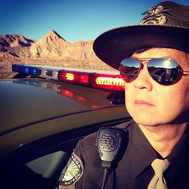 Mr. Chow (Ken Jeong) is rocking some mirrored aviators as part of his policeman getup. Source: Instagram user toddphillips1