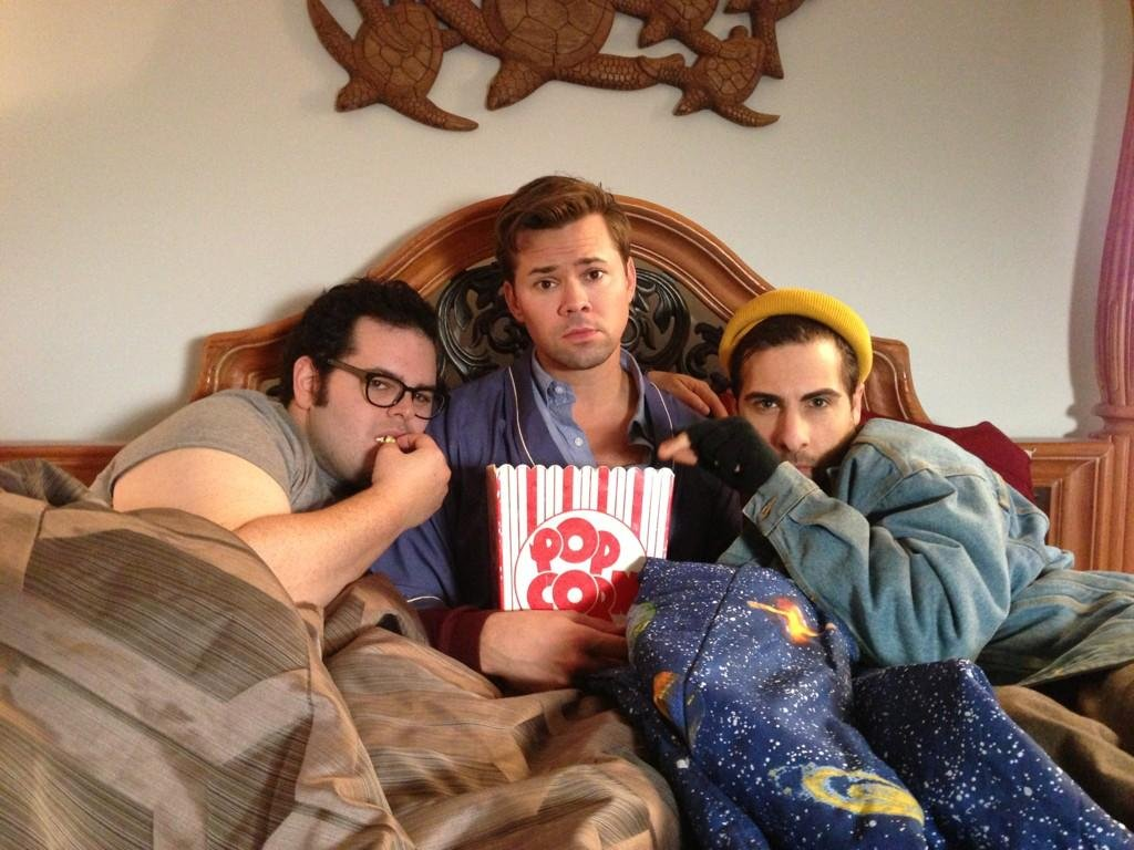 Book of Mormon buddies Josh Gad and Andrew Rannells got intimate with Jason Schwartzman. Source: Twitter user joshgad