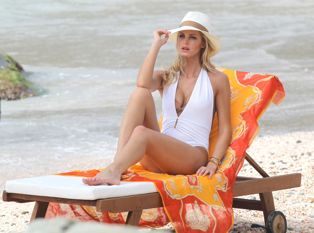 Erin Heatherton adjusted her hat.