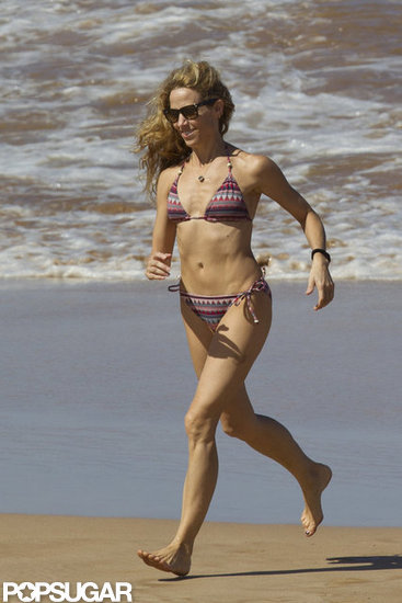 Sheryl Crow ran on the beach while vacationing in Hawaii with her sons in February.