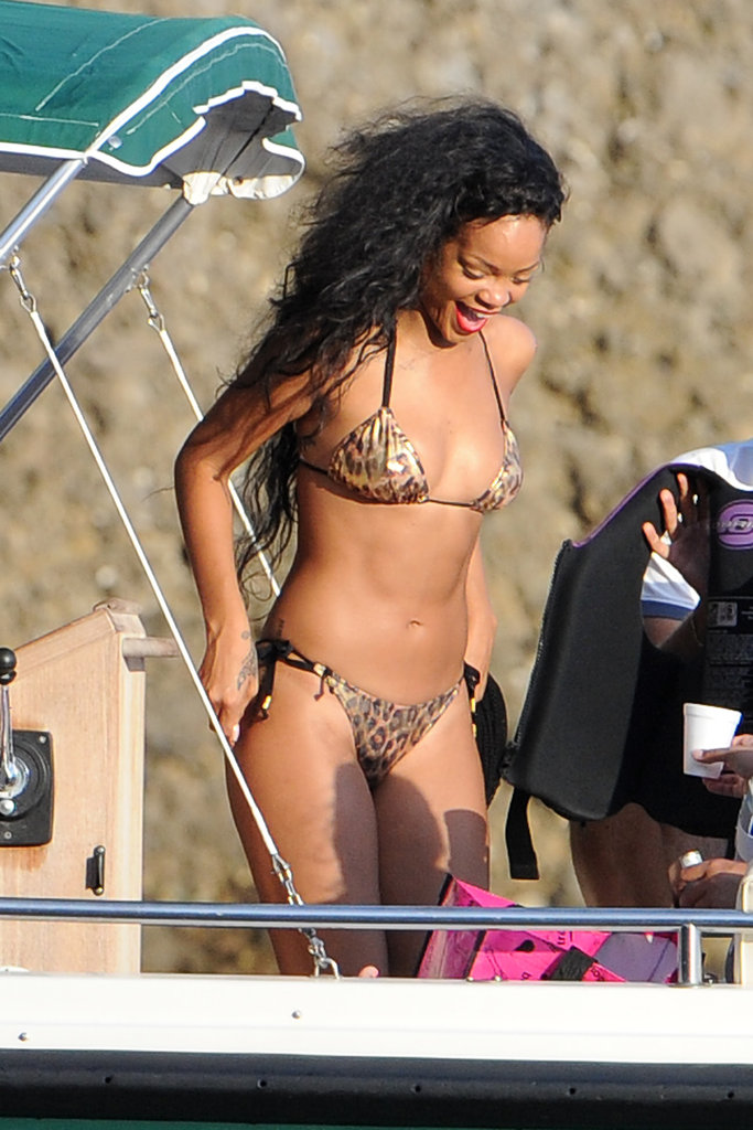 Rihanna wore a wild leopard bikini in Portofino, Italy, back in July.