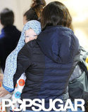 Jennifer Garner prepared to leave Los Angeles with baby Samuel by her side.