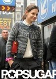 Katie Holmes headed to work carrying her Delvaux purse over her shoulder.