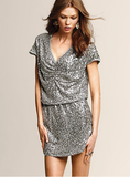 It doesn't get any easier, or prettier, than this Victoria's Secret Sequin V-Neck Dress ($100, originally $198).