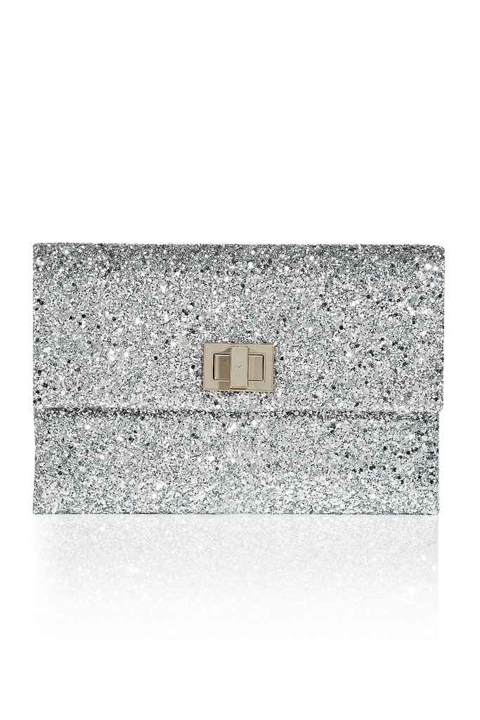 Anya Hindmarch's Silver Valorie Clutch ($550) is an irresistibly fun NYE bag option.