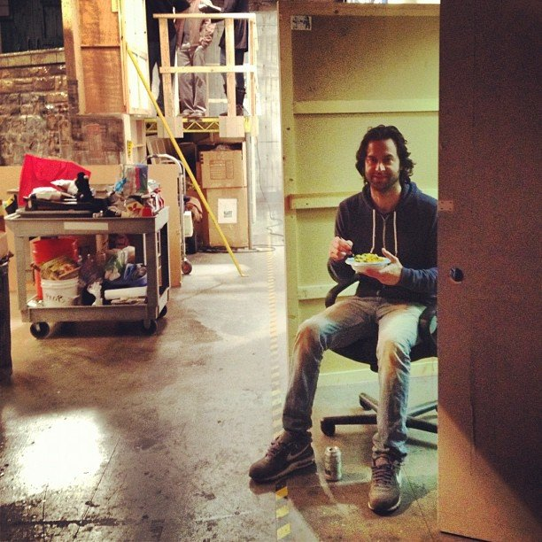 Zoe Lister Jones caught Chris D'Elia eating lunch by himself on the set of Whitney. Somebody get that guy a friend. Source: Instagram user zoelisterjones
