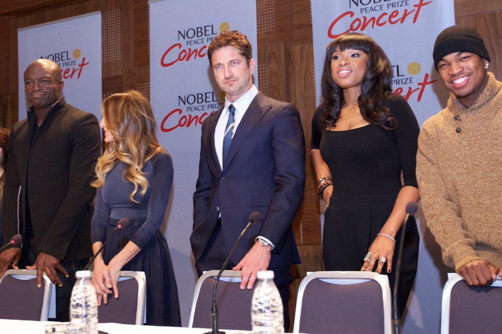 Sarah Jessica Parker, Seal, Gerard Butler, Jennifer Hudson, and Ne-Yo linked up at a press conference ahead of the Novel Peace Prize Concert in Oslo.