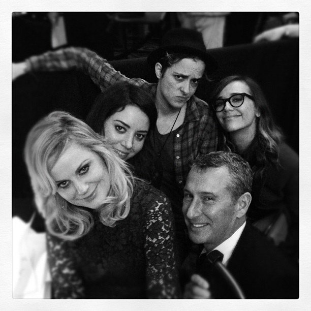 Adam Shankman spent time with friends Amy Poehler, Aubrey Plaza, Samantha Ronson and Rashida Jones at the Trevor Live event. Source: Instagram user adamshankman