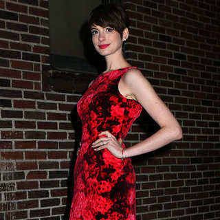 Anne Hathaway in a Red Floral Dress at The Late Show