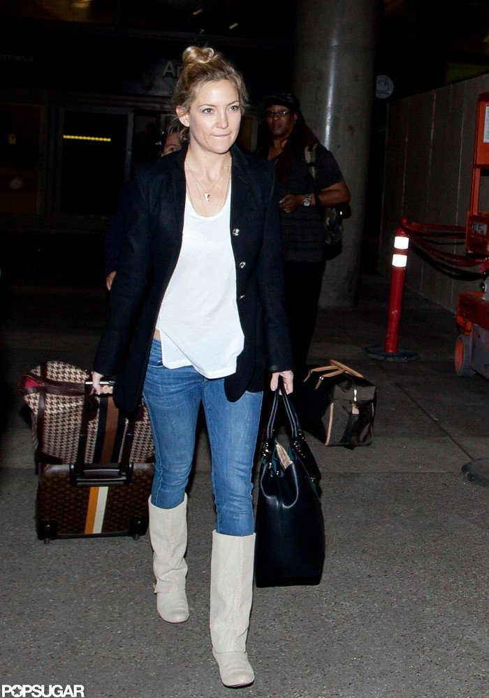 Kate Hudson wore cream boots in LA.