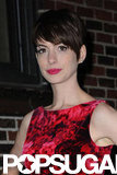Anne Hathaway Goes Floral For a Prepremiere Late Show Stop