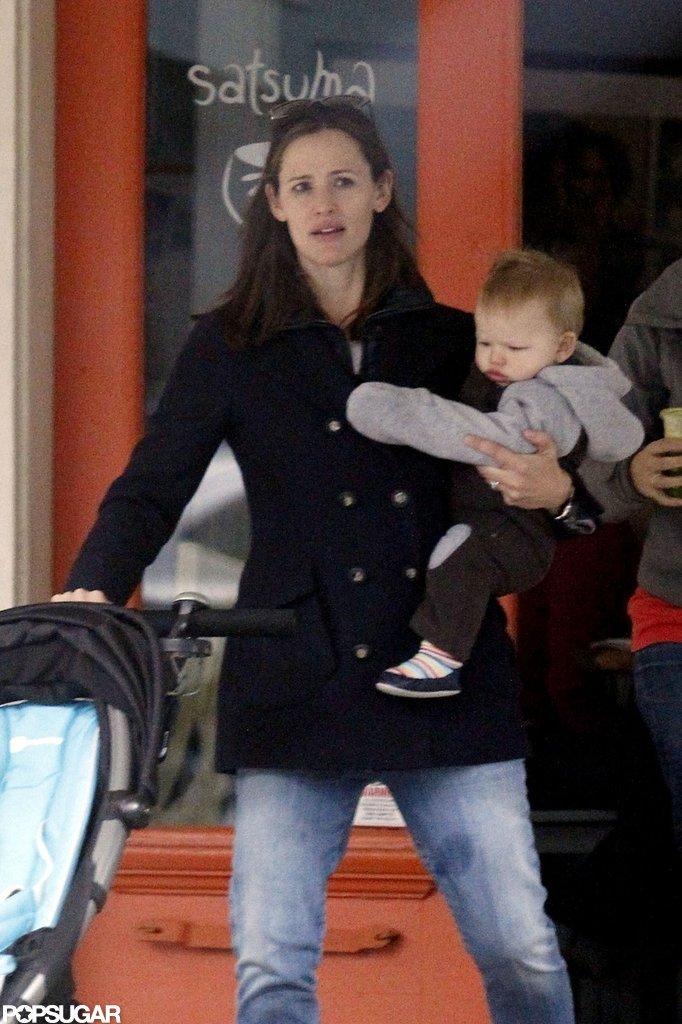 Jennifer Garner carried Samuel Affleck out of a New Orleans coffee shop.