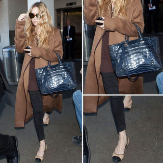 Ashley Olsen Wears Cap Toe Flats at LAX 2012