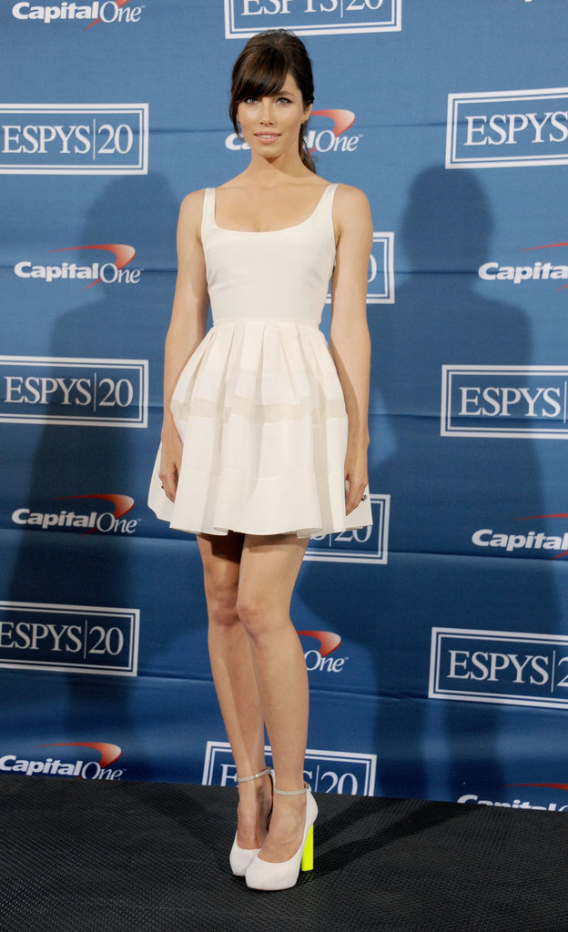 Jessica Biel attended the ESPY Awards in July wearing a girlie white Christian Dior minidress.