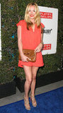 Cat Deeley was all stems in a coral-coloured mini and nude heels at an LA party back in March.