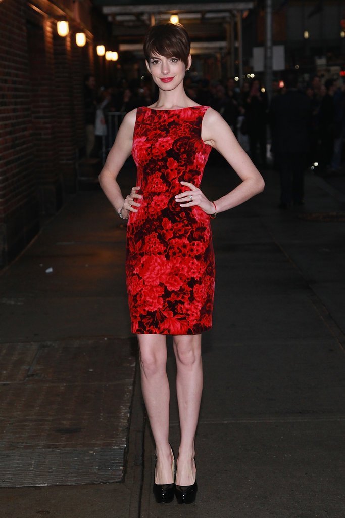Anne switched into this red-and-black printed sheath for her appearance on the Late Show in December 2012.