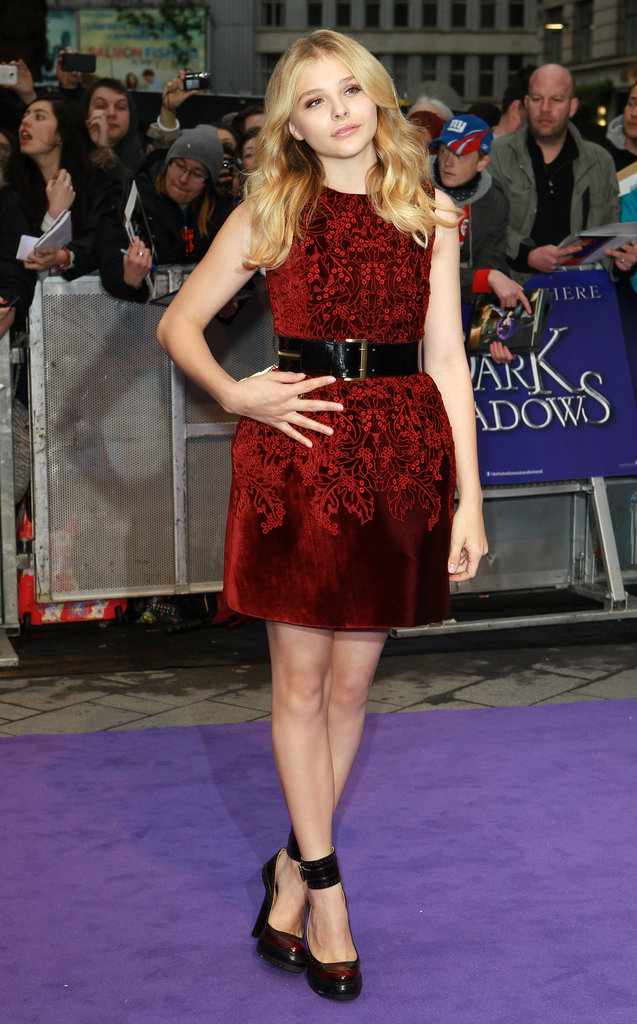 Chloë Moretz attended the May premiere of Dark Shadows wearing an oxblood-coloured mini from McQ Alexander McQueen.