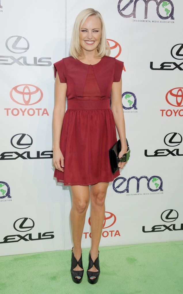 Malin Akerman wore a red short-sleeved mini to an LA event in late September.