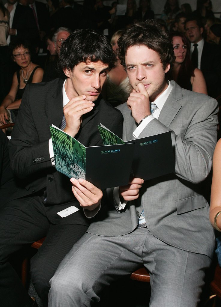Andy and Hamish may have been able to read their programmes if they were the right way up . . . at David Jones' Winter 2008 collection launch in Sydney in Feb. 2008.