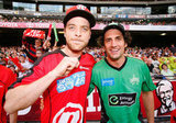 Hamish and Andy attended the Big Bash League match at Etihad Stadium in Melbourne in Dec. 2012.