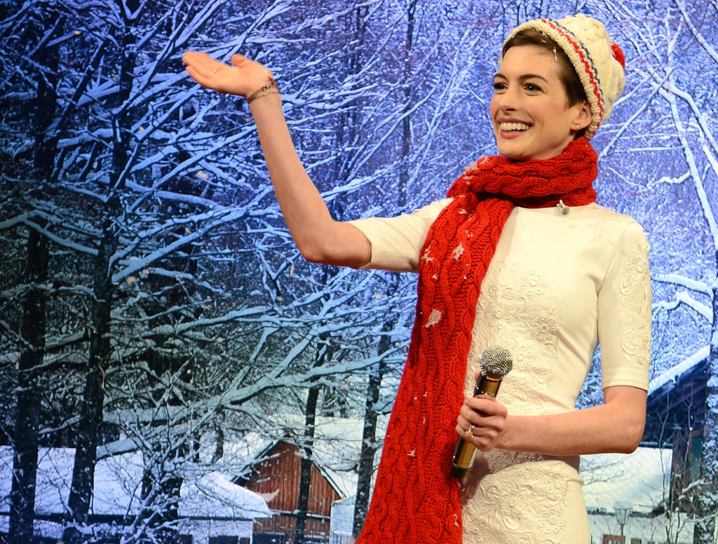 Anne Hathaway joked around in the faux snow.