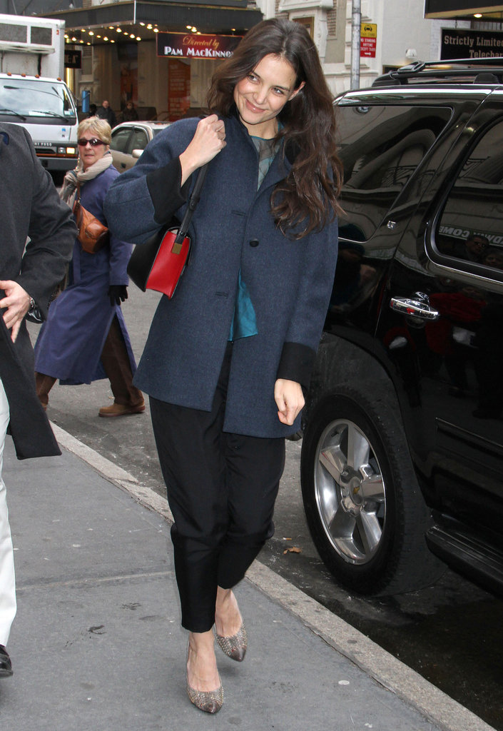 Katie Holmes prepared for the chilly NYC weather with a wool coat.