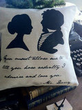 """The Mr. Darcy silhouette pillow ($18) highlights his most swoon-worthy quote from Pride and Prejudice: """"You must allow me to tell you how ardently I admire and love you."""""""