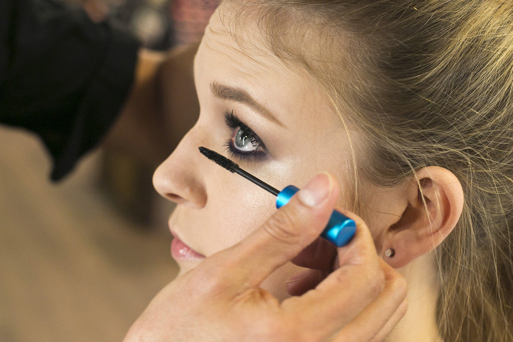 """With the smoky look, you can never have too much mascara,"" Jennings says. He recommends applying generous coats of mascara to both the upper and lower lashes. ""Since we have all this lash and color on top, you get a nice balance of the shadow wrapped around the face, and the bottom lashes get enhanced."""