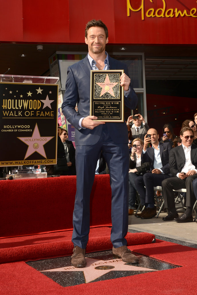 Hugh Jackman proudly accepted his star.