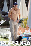 Kellan Lutz relaxed poolside with friends in Miami in December.