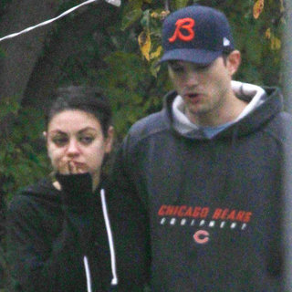 Mila Kunis and Ashton Kutcher Walking Their Dog