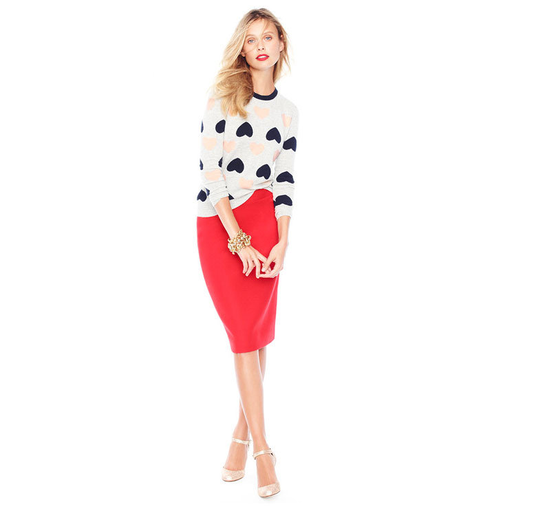 Give your pencil skirt a sweet Winter spin with a printed knit — just add pumps and pretty jewels to take this winning office-ready outfit to your parties.