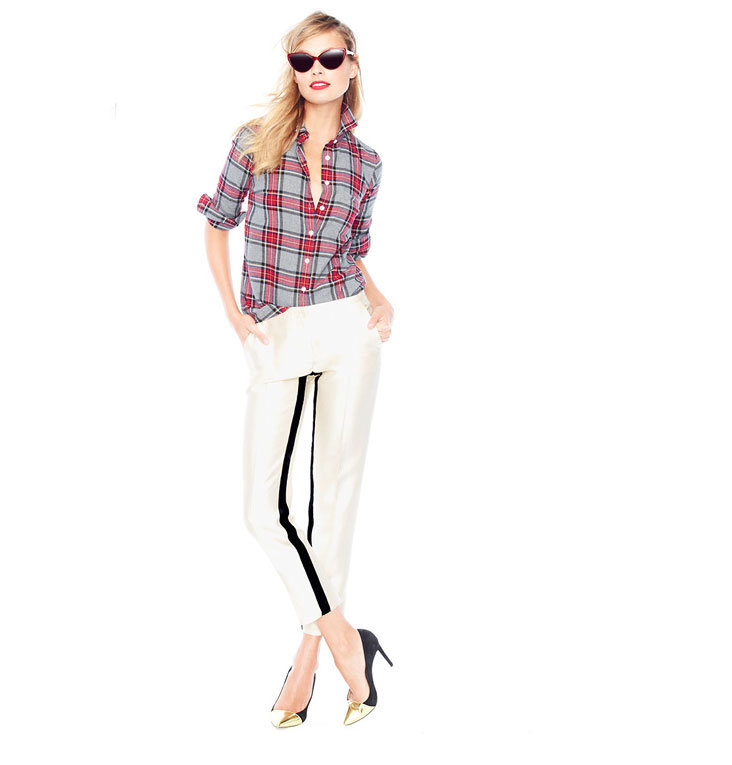 Dress up your staple button-downs (extra points for one in plaid) with sleeker bottoms, like these slim tuxedo trousers. Give a modern twist on glam with metallic cap-toes to finish it off.