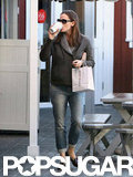 Jennifer Garner sipped on coffee.