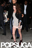 Kristen Stewart wore a mini dress.