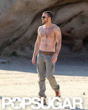 Chris Evans was sans shirt while on set for a Details magazine shoot in LA this February.