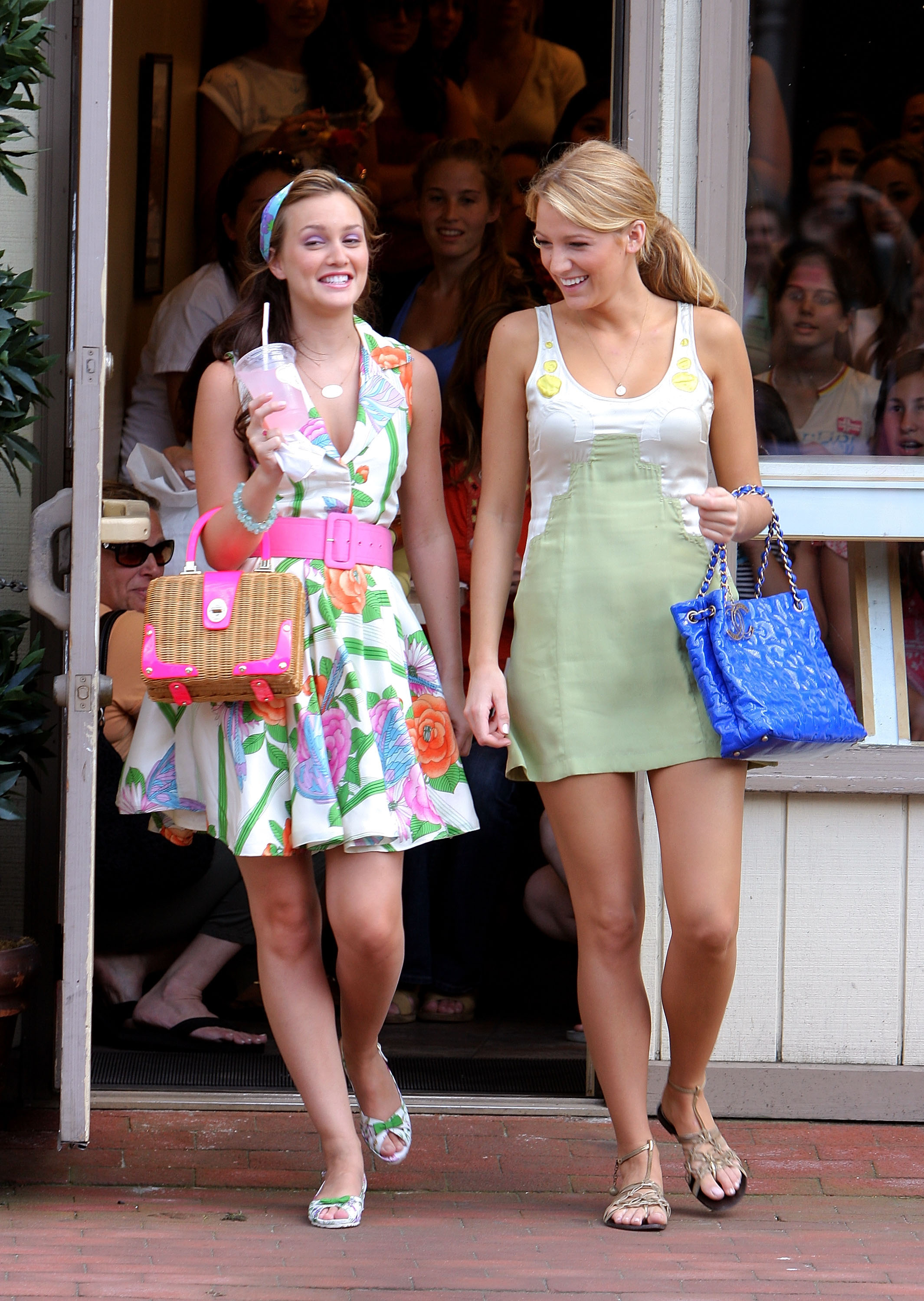 Sharing a laugh while cameras were rolling, Leighton Meester and Blake Lively filmed on location in P