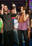 Penn Badgley and Leighton Meester were excited to drop by TRL in May 2008.