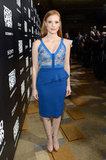 Jessica Chastain defied the predictable seasonal dress code with a bold and beautiful blue Elie Saab confection at the Zero Dark Thirty premiere in LA.