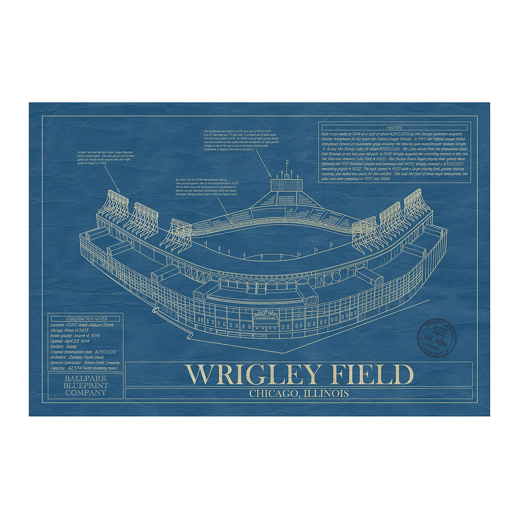 This vintage-inspired ballpark blueprint ($185) features details of legendary ballparks like Wrigley, Fenway, and Yankee Stadium.