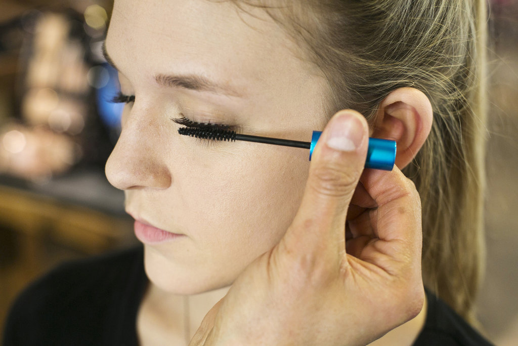 """Once the lashes are in place, apply mascara just at the root to fuse the false lashes with your real lashes so there is no space,"" Jennings says. He does not like to apply mascara to the tips of the false lashes, though, since that can negate the feathery feeling of the lashes. Source: Caroline Voagen Nelson"