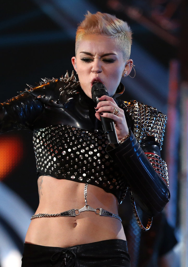 Miley Cyrus channeled her inner '80s rock star.