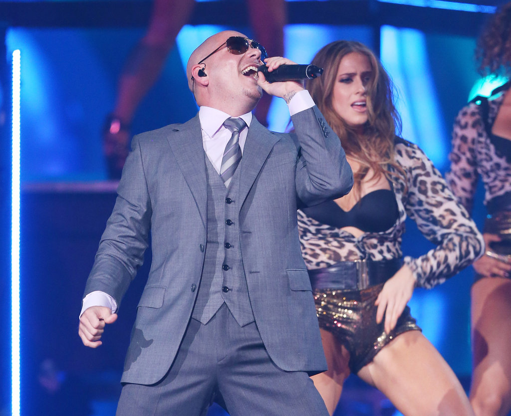 Pitbull was one of the few male performers.