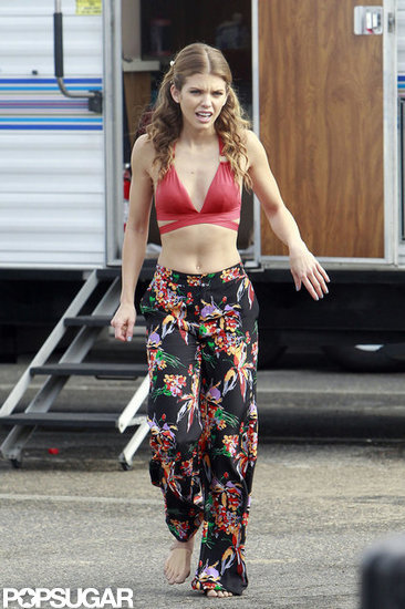 AnnaLynne McCord prepared to film on the beach.