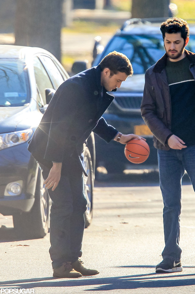 Justin Timberlake played around with a minibasketball.