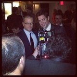 Matt Damon and John Krasinski shared a hug just a few feet away from us at the NYC premiere of Promised Land.