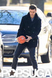 Justin Timberlake played with a basketball on set.